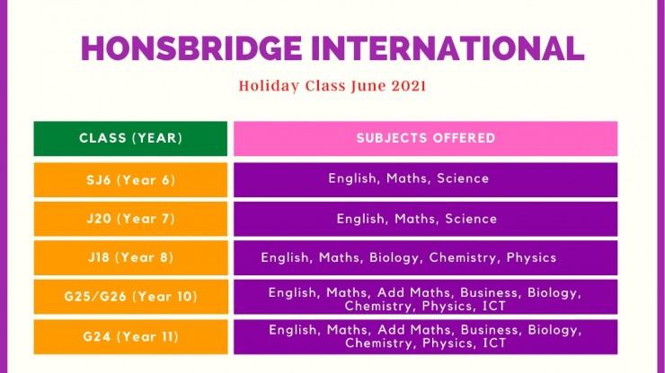 Honsbridge Holiday Class June 2021
